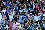 England fans celebrate the World Cup win during the ICC Cricket World Cup 2019 Final match between New Zealand and England at Lord's Cricket Ground, St John's Wood, United Kingdom on 14 July 2019.