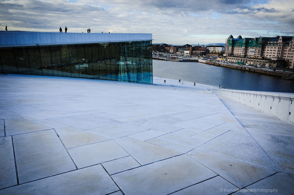 Oslo, Norway, October 2012: The view Looking down from the opera house towards the water.EDITORIAL ONLY: This Image is only for Editorial Use