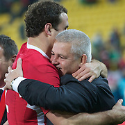 Wales coach Warren Gatland, congratulates Jamie Roberts after the Ireland V Wales Quarter Final match at the IRB Rugby World Cup tournament. Wellington Regional Stadium, Wellington, New Zealand, 8th October 2011. Photo Tim Clayton...