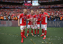 Chris Solly, Joe Aribo, Josh Cullen and Jake Forster-Caskey of Charlton Athletic celebrate after the match - Mandatory by-line: Paul Terry/JMP - 26/05/2019 - FOOTBALL - Wembley Stadium - London, England - Charlton Athletic v Sunderland - Sky Bet League One Play-off Final