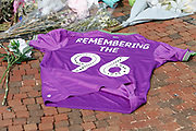 A football shirt Remembering the 96 at the Hillsborough Memorial before the EFL Sky Bet Championship match between Sheffield Wednesday and Bristol City at Hillsborough, Sheffield, England on 22 April 2019.