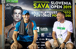 Blaz Rola of Slovenia with moderator Gasper Bolhar after winning in 2nd Round of ATP Challenger Zavarovalnica Sava Slovenia Open 2019, day 6, on August 14, 2019 in Sports centre, Portoroz/Portorose, Slovenia. Photo by Vid Ponikvar / Sportida