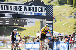Grant Ferguson beats Michiel van der Heijden and takes 2nd place in the 2014 UCI Mountainbike World Cup at Méribel, France.