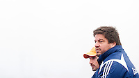 ARNHEM - Hockey. Bondscoach Max Caldas woensdag tijdens de oefeninterland in dichte mist tegen Zuid Afrika. FOTO KOEN SUYK