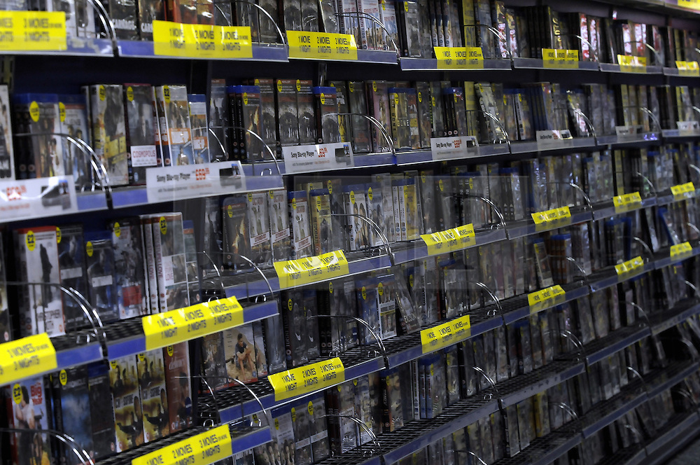 © Licensed to London News Pictures. 16/01/2013.Blockbuster in Administration making them the 3rd retailer this year to go into administration..  This Blockbuster store in Pettswood near Bromley in Kent is empty tonight with no customers..Photo credit : Grant Falvey/LNP
