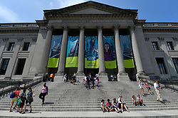 Hundreds gather outside Franklin Institute, in Center City Philadelphia, PA to witness events during the 2017 Solar Eclipse, on August 21, 2017, all across the United States.