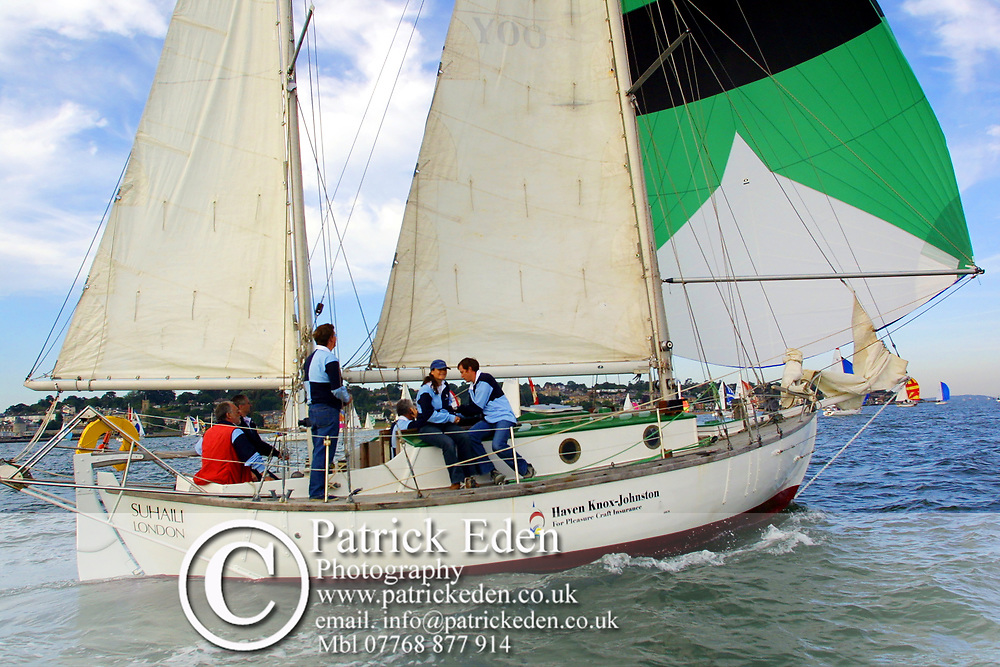 Round the Island Race 2003. Robin Knox Johnson, Suhaili. Cowes, Isle of Wight, England,