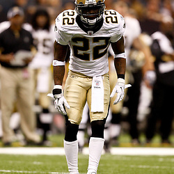 August 21, 2010; New Orleans, LA, USA; New Orleans Saints cornerback Tracy Porter (22) during a 38-20 win by the New Orleans Saints over the Houston Texans during a preseason game at the Louisiana Superdome. Mandatory Credit: Derick E. Hingle