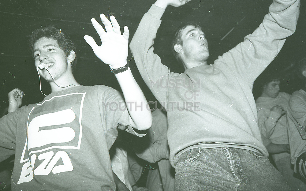 Ravers bouncing around, The Boardwalk, Manchester, October, 1991.