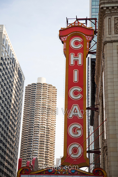 Chicago sign theater marquee and Marina City Tower. The Chicago Theatre is a Chicago Landmark. High resolution picture.