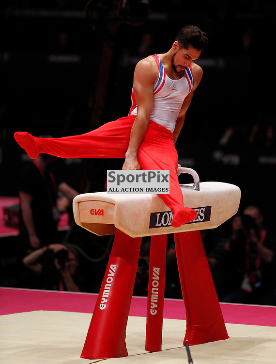 2015 Artistic Gymnastics World Championships being held in Glasgow from 23rd October to 1st November 2015.....Great Britain'sb Louis Smith performs on the Pommel Horse on Day 1 of the Women's & Men's Apparatus Final...(c) STEPHEN LAWSON | SportPix.org.uk