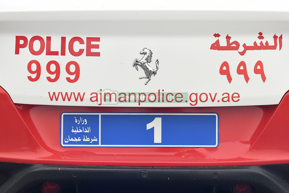 March 1, 2019 - Ajman, United Arab Emirates - Ajman Police vehicle seen near the start line of the sixth Rak Properties Stage of UAE Tour 2019, a 180km with a start from Ajman and finish in Jebel Jais. .On Friday, March 1, 2019, in Ajman, Ajman Emirate, United Arab Emirates. (Credit Image: © Artur Widak/NurPhoto via ZUMA Press)