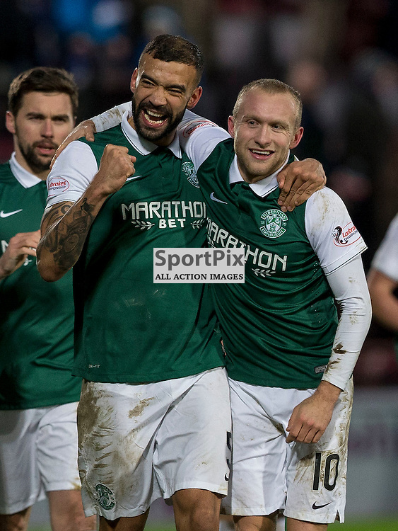 Hibernian v St Johnstone Scottish League Cup semi-final 2015-2016  <br /> <br /> Liam Fontaine (Hibernian) and Dylan McGeouch (Hibernian) celebrate getting to the cup final during the Hibernian v St Johnstone, Scottish League Cup semi-final at Tynecastle Stadium on Saturday 30 January 2016.<br /> <br /> Picture: Alan Rennie