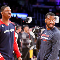 21 March 2014: Washington Wizards center Kevin Seraphin (13) talks to Washington Wizards guard John Wall (2) prior to the Washington Wizards 117-107 victory over the Los Angeles Lakers at the Staples Center, Los Angeles, California, USA.