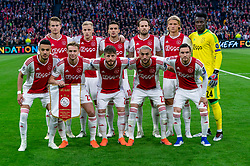 08-05-2019 NED: Semi Final Champions League AFC Ajax - Tottenham Hotspur, Amsterdam<br /> After a dramatic ending, Ajax has not been able to reach the final of the Champions League. In the final second Tottenham Hotspur scored 3-2 / Matthijs de Ligt #4 of Ajax, Donny van de Beek #6 of Ajax, Dusan Tadic #10 of Ajax, Daley Blind #17 of Ajax, Kasper Dolberg #25 of Ajax, Andre Onana #24 of Ajax, Noussair Mazraoui #12 of Ajax, Frenkie de Jong #21 of Ajax, Lasse Schone #20 of Ajax, Hakim Ziyech #22 of Ajax, Nicolas Tagliafico #31 of Ajax