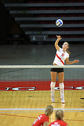 18 AUG 2007: Katie Culbertson serves. The Illinois State Redbirds, picked for 5th in the pre-season Missouri Valley Conference coaches poll, prepare for the beginning of the season during the annual Red/White inter-squad scrimmage at Redbird Arena in Normal Illinois.