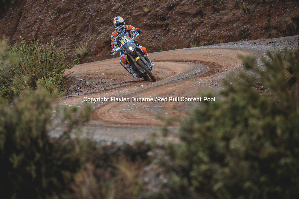 Matthias Walkner (AUT) of Red Bull KTM Factory Team races during stage 5 of Rally Dakar 2017 from Tupiza to Oruro, Bolivia on January 6, 2017. // Flavien Duhamel/Red Bull Content Pool // P-20170106-00092 // Usage for editorial use only // Please go to www.redbullcontentpool.com for further information. //
