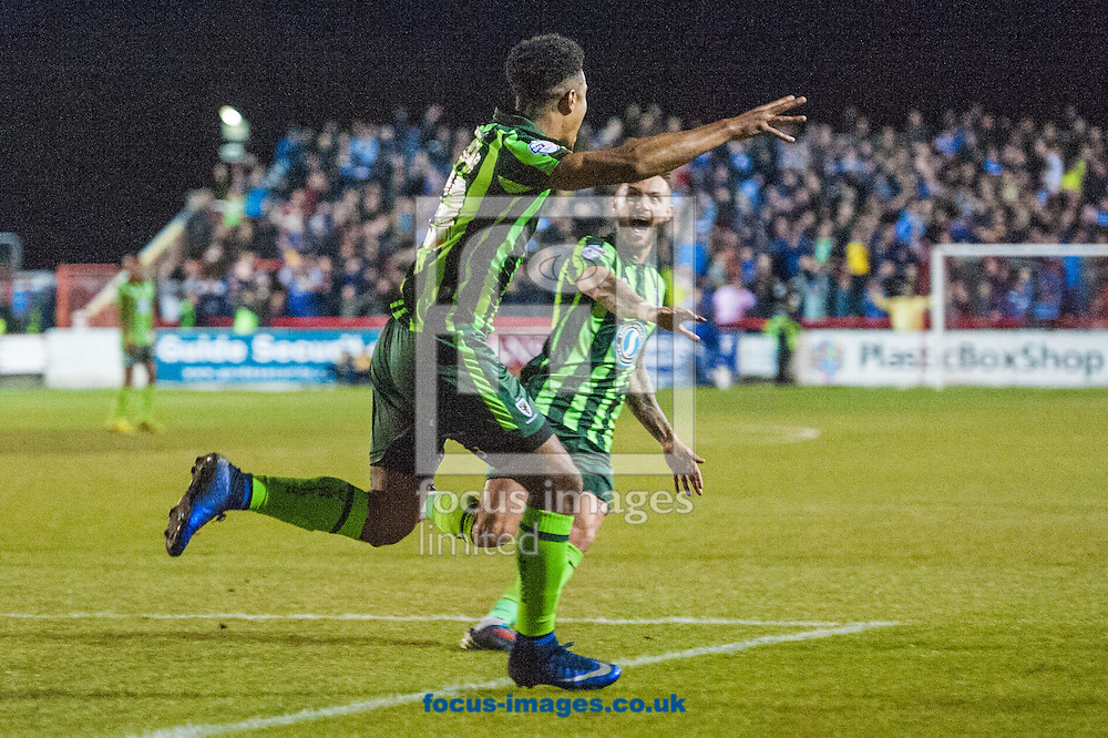 Lyle Taylor of AFC Wimbledon celebrates after scoring during the Sky Bet League 2 Playoff Semi-final Leg Two at the Fraser Eagle Stadium, Accrington<br /> Picture by Matt Wilkinson/Focus Images Ltd 07814 960751<br /> 18/05/2016
