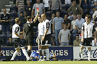 Photo: Aidan Ellis.<br /> Preston North End v Cardiff City. Coca Cola Championship. 09/09/2006.<br /> Preston's David Nugent is sent off