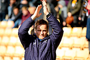 AFC Wimbledon manager Neal Ardley applauds the visiting fans during the EFL Sky Bet League 1 match between Port Vale and AFC Wimbledon at Vale Park, Burslem, England on 1 April 2017. Photo by Simon Davies.