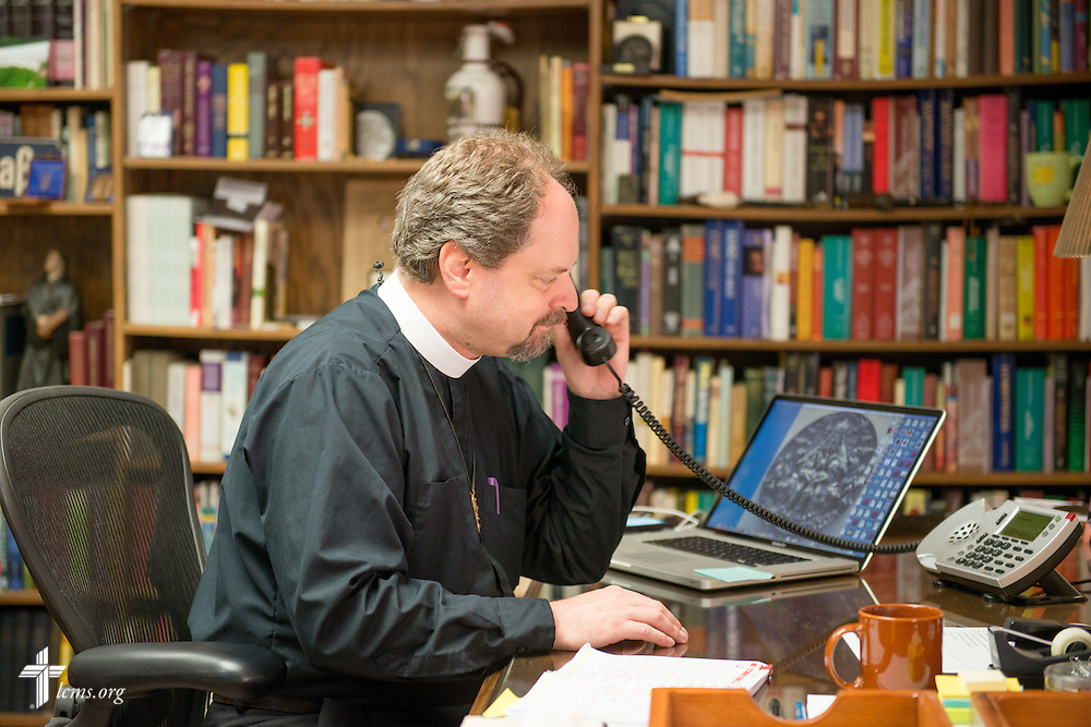 The Rev. Dr. Daniel Harmelink, executive director of Concordia Historical Institute (CHI), works in his office Monday, July 21, 2014, on the campus of Concordia Seminary in Clayton, Mo.  LCMS Communications/Erik M. Lunsford