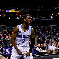 November 17, 2010; New Orleans, LA, USA; New Orleans Hornets point guard Chris Paul (3) reacts after scoring during the second half against the Dallas Mavericks at the New Orleans Arena. The Hornets defeated the Mavericks 99-97. Mandatory Credit: Derick E. Hingle