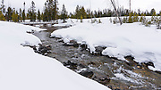 Cottonwood Creek in winter, Grand Teton National Park, Wyoming USA