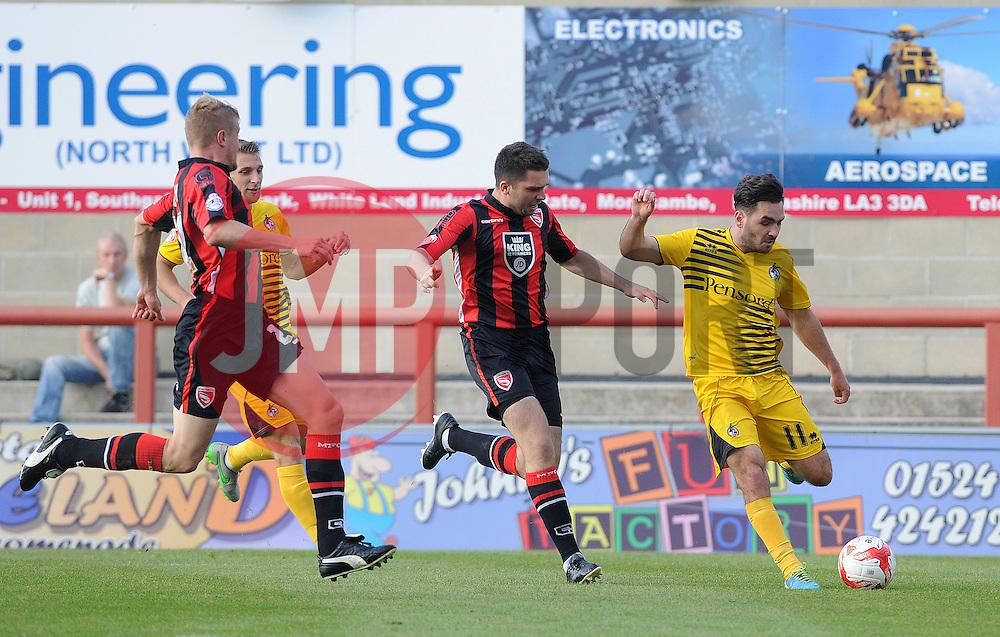 Jake Gosling of Bristol Rovers crosses the ball - Mandatory byline: Neil Brookman/JMP - 07966 386802 - 03/10/2015 - FOOTBALL - Globe Arena - Morecambe, England - Morecambe FC v Bristol Rovers - Sky Bet League Two