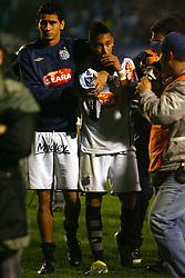 RS - FUTEBOL/CAMPEONATO BRASILEIRO/GREMIO X SANTOS - ESPORTES - Paulo Henrique Ganso, do Santos, deixa o jogo lesionado apos sofrer o penalti na partida contra o gremio, valida pela decima sexta rodada do Campeonato Brasileiro 2010. FOTO: LUCAS UEBEL/PREVIEW.COM