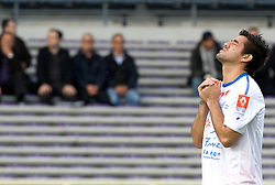 Marco Estrada of Montpellier prays before kick off. Toulouse v Montpellier HRC. Ligue 1, Stade Municipal, Toulouse, France, 27th April 2011.