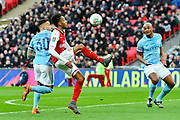 Pierre-Emerick Aubameyang (14) of Arsenal on the attack during the EFL Cup Final match between Arsenal and Manchester City at Wembley Stadium, London, England on 25 February 2018. Picture by Graham Hunt.