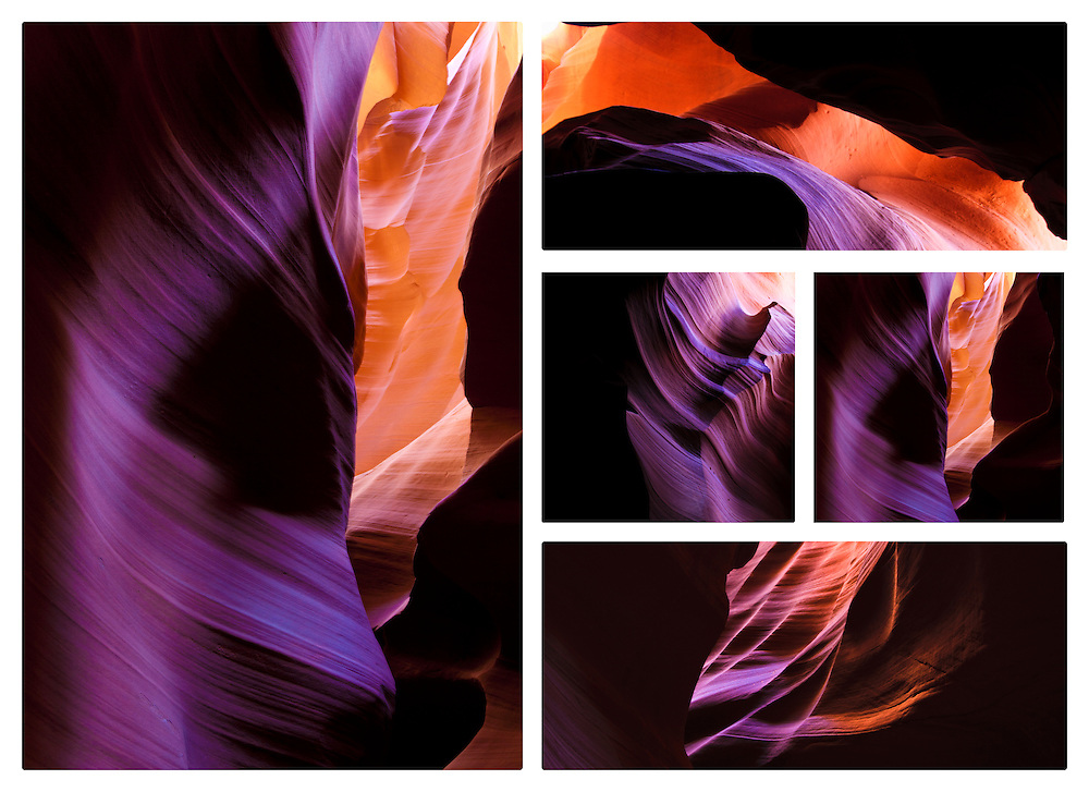 Canyon Call, This 5 piece installation is Photography on Metal, Antelope Canyon, Arizona  30 x 42 no framing required mounted on wood blocks 5 peices. Price numbered and signed 3/20