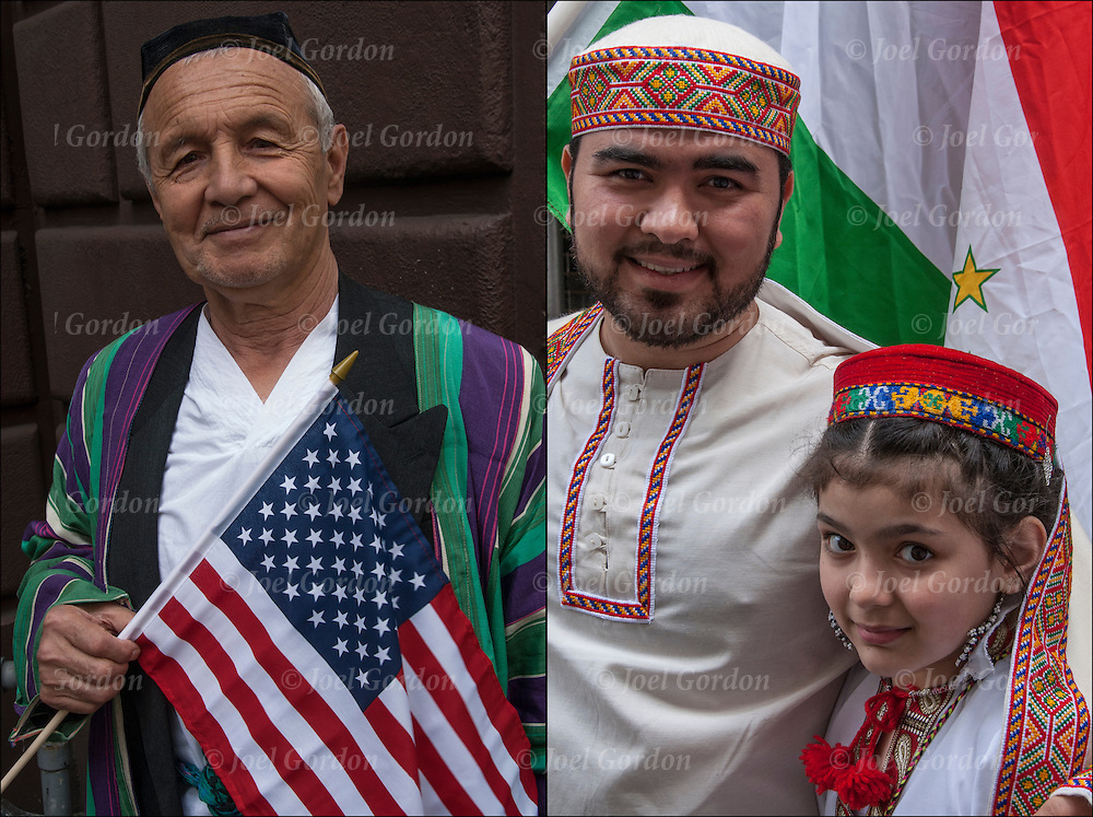 Head and shoulder portraits of smiling Iranian Americans  dressed in transitional folk costume from Iran showing their  ethnic pride, before the start of the 2015  Persian Iranian Parade in New York.