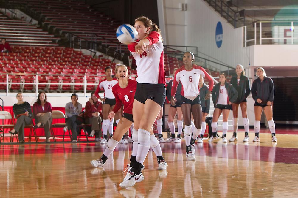 University of Arkansas Razorback Women's Volleyball team action photography in Fayetteville, Arkansas during the 2010-2011 season.