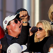 Ryder Cup 2016. Day Three. Phil Mickelson and the United States team celebrate their  Ryder Cup win after the United States victory over Europe in the Ryder Cup tournament at Hazeltine National Golf Club on October 02, 2016 in Chaska, Minnesota.  (Photo by Tim Clayton/Corbis via Getty Images)