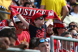 July 22, 2018 - Charlotte, NC, U.S. - CHARLOTTE, NC - JULY 22:  A fan in the stands during the International Champions Cup soccer match between Liverpool FC and Borussia Dortmund in Charlotte, N.C. on July 22, 2018.(Photo by John Byrum/Icon Sportswire) (Credit Image: © John Byrum/Icon SMI via ZUMA Press)