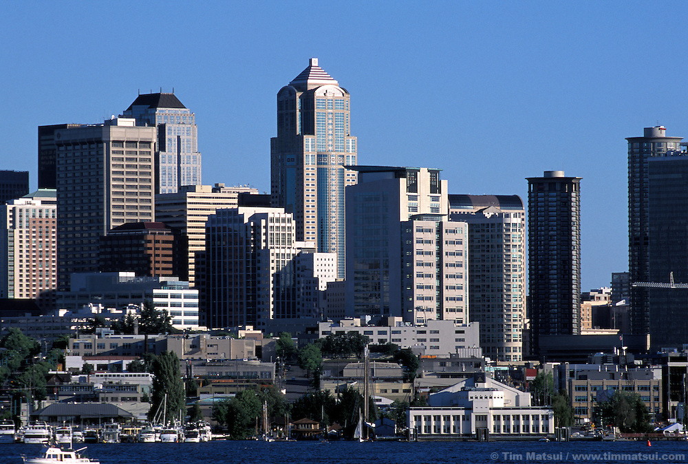 The Seattle Skyline and South Lake Union neighborhood which is being turned into a biomedical research park by billionaire Paul Allen. Seen from Gasworks Park.