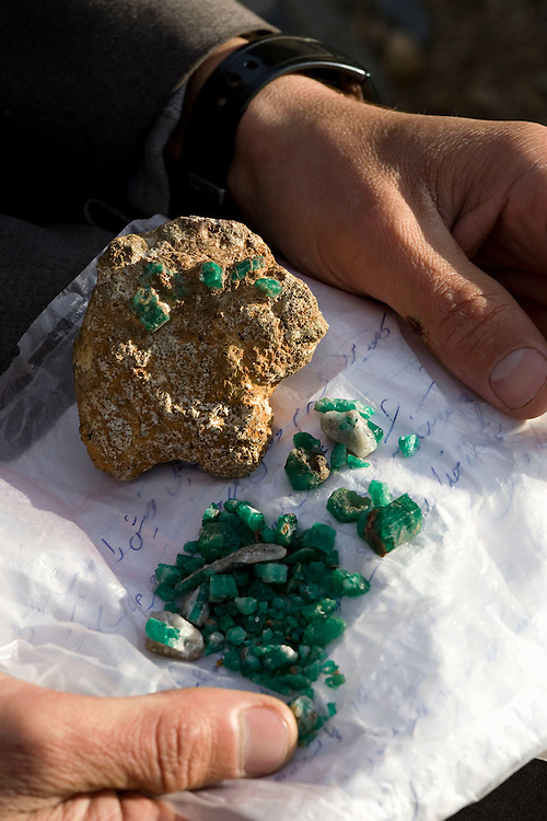 Uncut emeralds from mines high in the mountains of the Panjshir, Afghanistan on the 15th December 2008.