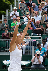 LONDON, ENGLAND - Monday, July 4, 2016:  Yaroslava Shvedova (KAZ) after winning the Ladies' Single 4th Round match on day eight of the Wimbledon Lawn Tennis Championships at the All England Lawn Tennis and Croquet Club. (Pic by Kirsten Holst/Propaganda)