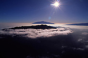 Sunrise over Mauna Kea and Hualalai, Island of Hawaii<br />