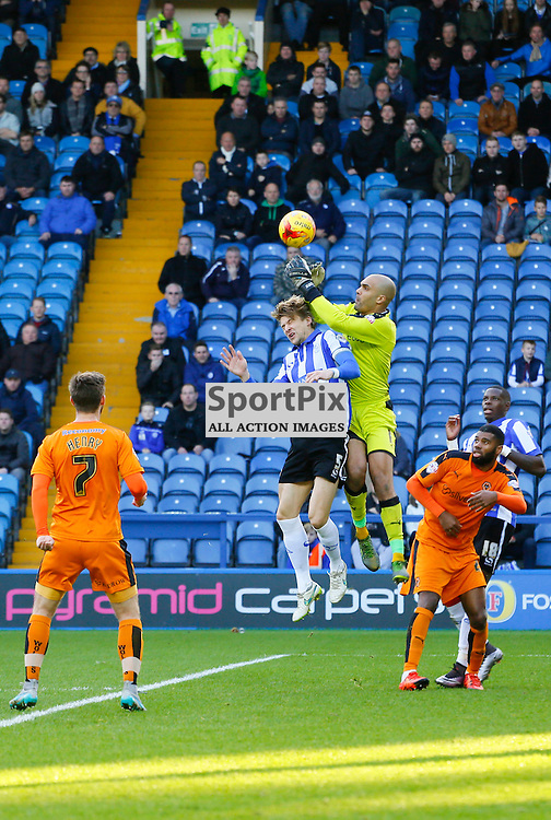 Glenn Loovens heads with Carl Ikeme during Sheffield Wednesday v Wolves, SkyBet Championship, Sunday 20th December 2015, Hilsborough, Sheffield