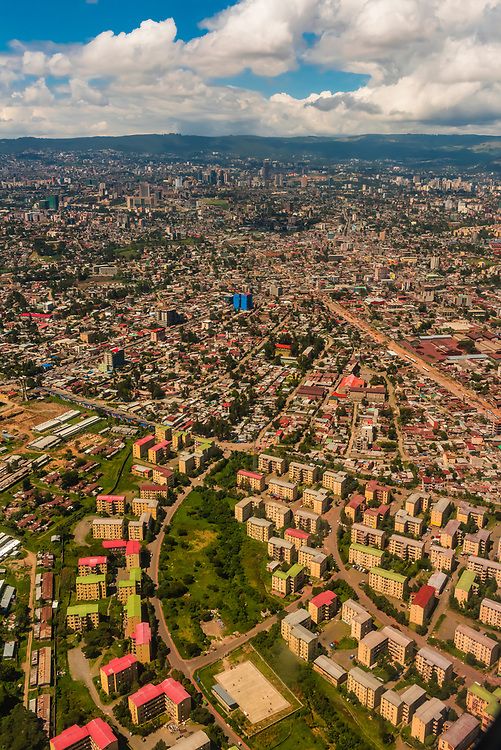 Aerial views of the capital of Ethiopia, Addis Ababa.
