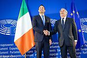 Antonio TAJANI, EP President meets with Leo VARADKAR, Prime Minister of Ireland.<br /> Photo : Da&iuml;na Le Lardic