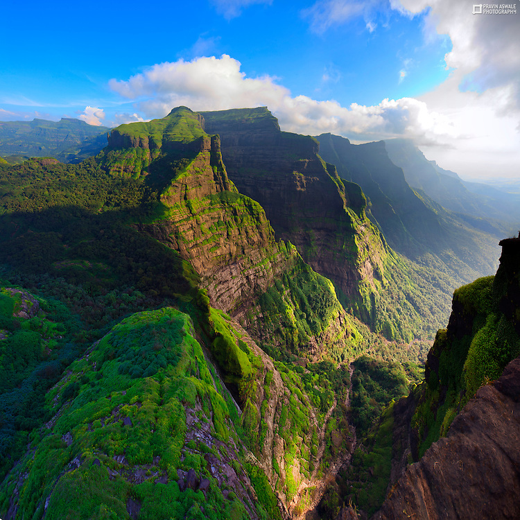 Late Evening Colours of monsoon, a breathtaking View from Mount Ratangad, Sahyadri, India.