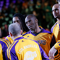 10 December 2013: Los Angeles Lakers shooting guard Kobe Bryant (24) is seen during the players introduction prior to the Phoenix Suns 114-108 victory over the Los Angeles Lakers at the Staples Center, Los Angeles, California, USA.