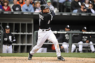 CHICAGO - APRIL 17:  Omar Vizquel #11 of the Chicago White Sox bats against the Los Angeles Angels of Anaheim on April 17, 2011 at U.S. Cellular Field in Chicago, Illinois.  The Angels defeated the White Sox 4-2.  (Photo by Ron Vesely)  Subject:  Omar Vizquel