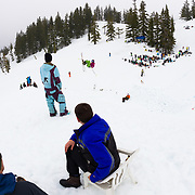 Sadie Rabener becomes the only girl to hit the monster jump at the Mount Baker Sesh Up in the backcountr y near Mount Baker Ski Area