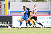 George Francomb in action during the Pre-Season Friendly match between AFC Wimbledon and Cheltenham Town at the Cherry Red Records Stadium, Kingston, England on 1 August 2015. Photo by Stuart Butcher.