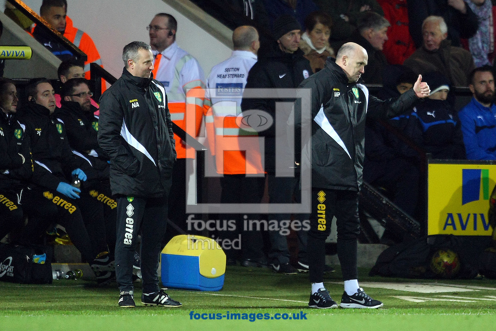 Norwich Manager Neil Adams smiles as Norwich First Team Coach Mike Phelan gives the thumbs up to Nathan Redmond of Norwich after his goal during the Sky Bet Championship match at Carrow Road, Norwich<br /> Picture by Paul Chesterton/Focus Images Ltd +44 7904 640267<br /> 13/12/2014
