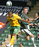 Plymouth -Saturday September 13th 2008:Paul Gallagher of Plymouth Argyle and Ryan Bertrand of Norwich City during the Coca Cola Championship match at Plymouth.(Pic by Tony Carney/Focus Images)